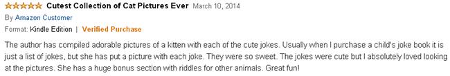 Kitten Jokes for kids book reader review