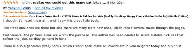 Kitten Jokes for kids book reader reviews